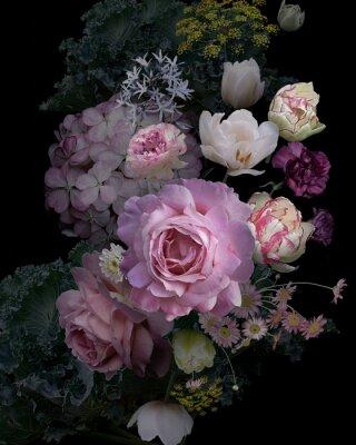 Vinilo Vintage garden flowers and decorative herbs on black background.