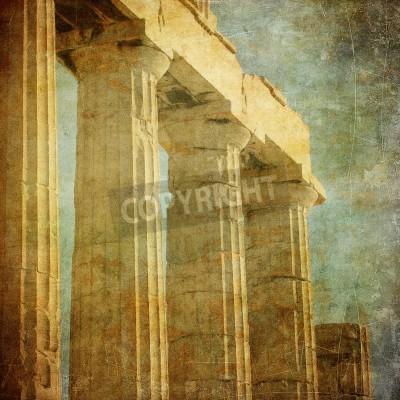 Vinilo Vintage image of greek columns, Acropolis, Athens, Greece