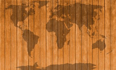 Vinilo Vintage mapa de la textura de madera de fondo