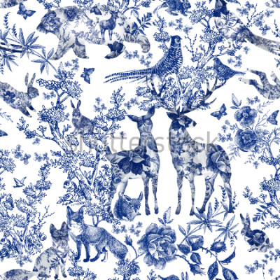 Vinilo Vintage seamless design with floral and wild animal. Fairytale forest. hand drawn pattern roses flower line graphics. fashion textile design Indigo color.