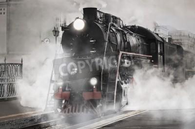 Vinilo Vintage tren de vapor sale de la estación de tren