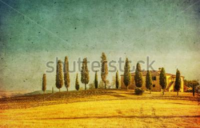 Vinilo vintage tuscan landscape
