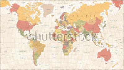 Vinilo Vintage World Map - Detailed Vector Illustration