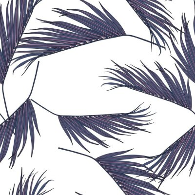 Vinilo Violet coconut palm leaves by hand drawing and sketch with line-art seamless pattern on white  backgrounds.