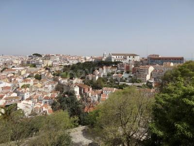 Vinilo vista a la ciudad de Lisboa, la ciudad capital de Portugal