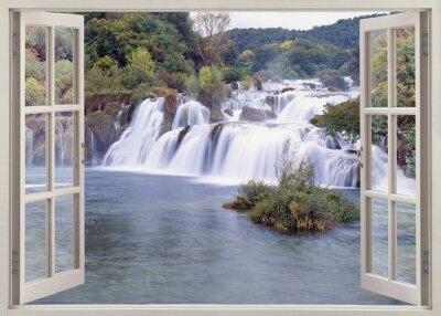 Vinilo Vista abierta del viento a Krk falls