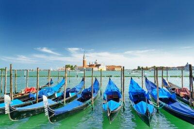 Vinilo Vista de góndolas en la laguna veneciana, Venecia, Italia