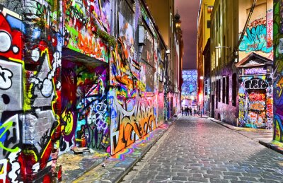 Vinilo Vista de la obra de arte de graffiti colorido en Hosier Lane en Melbourne