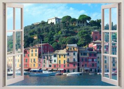 Vinilo Vista de la ventana de la pluma a viejo Portofino, Italia
