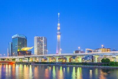 Vinilo Vista de Tokio Skytree hito y el río Sumida en la noche.
