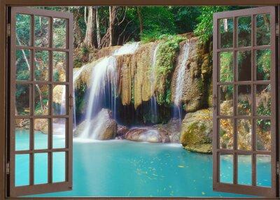 Vinilo Vista de ventana abierta a la cascada de la selva profunda