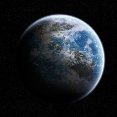 Vinilo Vista del planeta Tierra en el espacio