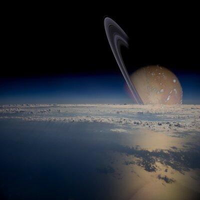 Vinilo Vista desde un satélite en órbita alrededor de un planeta anillado.