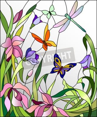 Vinilo Vitral con flores y mariposas