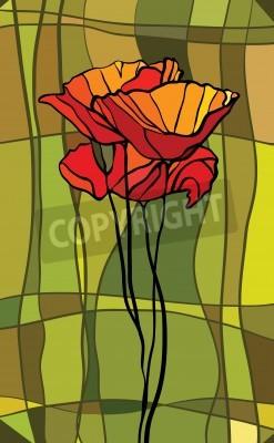 Vinilo Vitral multicolor con motivos florales