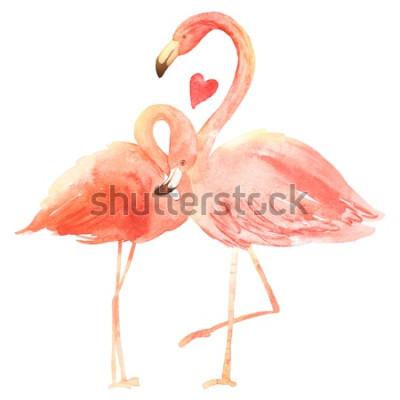 Vinilo Viviendo flamencos de coral en el amor. Tarjeta de felicitación de acuarela feliz día de San Valentín. Dibujado a mano. Rosado
