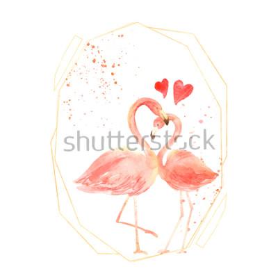 Vinilo Vivir los flamencos de coral en el amor. Tarjeta de felicitación feliz del día de tarjeta de día de San Valentín de la acuarela. Dibujado a mano. Rosado