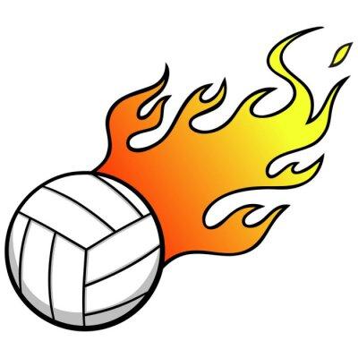 Vinilo Voleibol con las llamas
