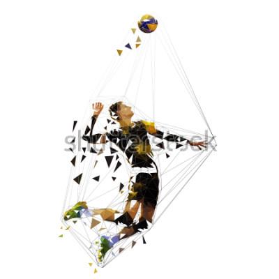 Vinilo Volleyball player serving ball, polygonal vector illustration