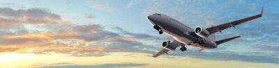 Vinilo Vuelo del avión de pasajeros moderno en la puesta del sol panorama