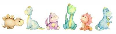Vinilo watercolo,  little dinosaur. isolated set