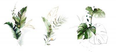 Vinilo  watercolor and gold leaves. herbal illustration. Botanic tropic composition.  Exotic modern design