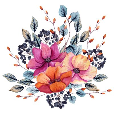 Vinilo Watercolor Autumn Floral Composition with Pink and Red Flowers
