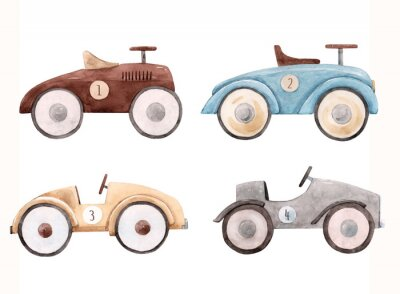 Vinilo Watercolor baby car illustration