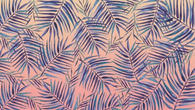 Vinilo Watercolor background with tropical leaves on a pink background.