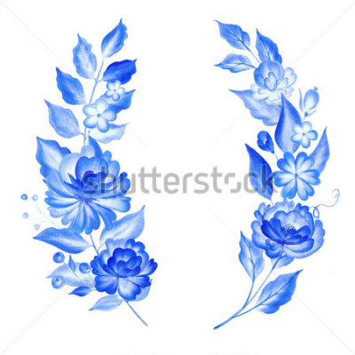 Vinilo Watercolor blue flowers  in gzhel style.Floral background.