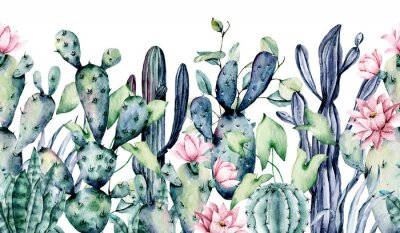 Vinilo Watercolor cacti, seamless border, hand drawn flower illustration. Perfect for floral design greeting card, blog, site, banner, wedding invitation. Isolated on white.  Cacti collection.