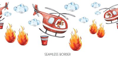 Vinilo Watercolor cartoon cute seamless border Firefighting and fire safety equipment illustration. Fire helicopter, dog, helmet, hose, column, fire extinguisher. Baby shower red colorful clip art