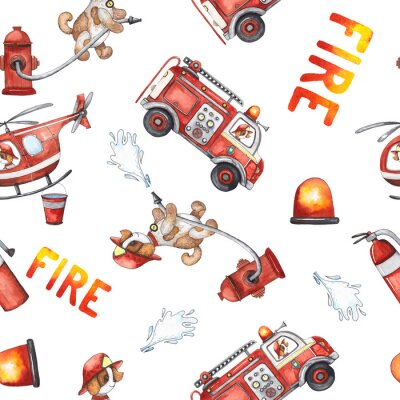 Vinilo Watercolor cartoon cute seamless pattern Firefighting and fire safety equipment illustration. Fire truck, helicopter, dog, helmet, hose, column, fire extinguisher. Baby shower red colorful clip art