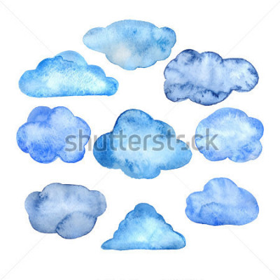 Vinilo Watercolor clouds set