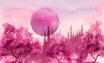 Vinilo Watercolor drawing, illustration. Forest landscape, fir, pine, tree, cedar, red, pink sun, sunset, sunrise. Splash paint, abstract illustration. Art painting. Winter landscape. Mystic forest