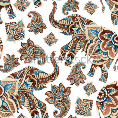 Vinilo Watercolor ethnic elephant with paisley elements background. Abstract indian seamless pattern with paisley ornament on white background. Hand painted illustration for boho, tribal design