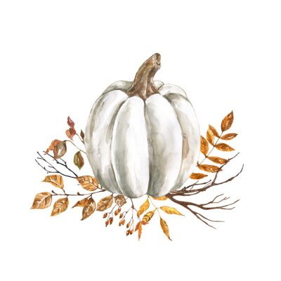Vinilo Watercolor fall pumpkin arrangement, beautiful autumn decoration, isolated on white background. Watercolor white pumpkin with yellow and orange dry leaves and tree branches.