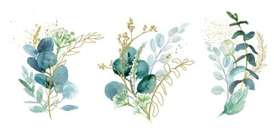 Vinilo Watercolor floral illustration set - green & gold leaf branches collection, for wedding stationary, greetings, wallpapers, fashion, background. Eucalyptus, olive, green leaves, etc.