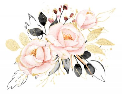 Vinilo Watercolor flowers, floral bouquet with gold gray leaves and blush pink peonies. Perfectly for print on greeting card, wedding invitation, poster. Hand drawing. Composition isolated on white.
