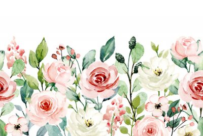 Vinilo Watercolor flowers, pink, white roses. Floral summer repeat border for printing invitations, greeting cards, wall art, stickers and other. Isolated on white. Hand painted.