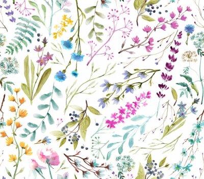 Vinilo  Watercolor flowers. Seamless watercolor pattern.