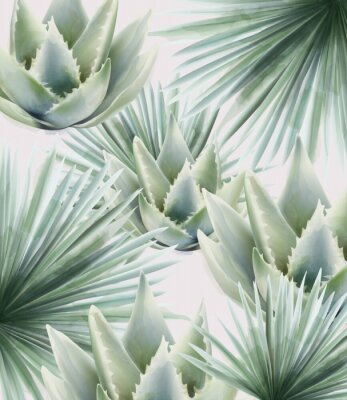 Vinilo Watercolor green palm and cactus leaves. Background vector