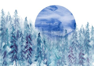 Vinilo Watercolor group of trees - blue fir, pine, cedar, fir-tree. Forest on the slope, cliff, grief. Blue forest, landscape, fog forest landscape, slope, mountain. Full moon, eclipse.