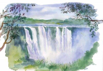 Vinilo Watercolor illustration of beautiful waterfall