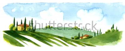 Vinilo Watercolor illustration of small village in Europe. Alpine landscape