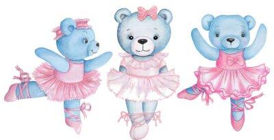 Vinilo Watercolor illustration of three dancing teddy bears in pink ballet dresses.