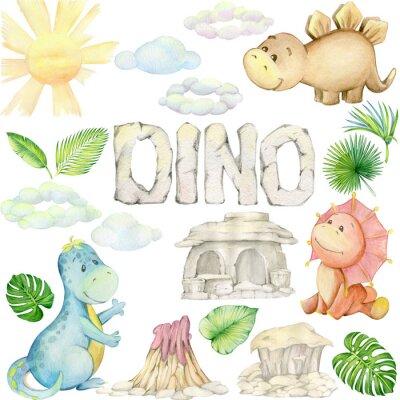 Vinilo watercolor,  little dinosaur. isolated set