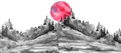 Vinilo Watercolor logo, postcard, background Black silhouette of the forest, pine, spruce, cedar, wild grass, bush. Watercolor landscape,coast, island.black splash of paint, abstract spots. Red, pink sun
