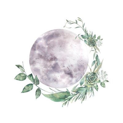 Vinilo Watercolor moon and floral wreath. Natural illustration for logo, tattoo, banner, sticker. Isolated art on white background