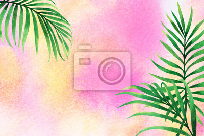 Vinilo Watercolor painting frame coconut leaves ,palm,green leaf on pink,sand watercolor background.Colorful illustration tropical exotic leaf summer card,design,wedding invitation,posters or save the date.